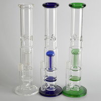 Glass Pipe Water Smoking Pipe Perc Honeycomb Disk Pipe Bong With 5 Arm Tree Perc Vase 33cm Height 3 Colors