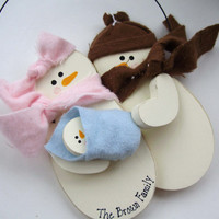 New Baby Snowman Family Christmas Holiday Ornament- Personalized and Your Choice of Colors- Baby's First Christmas