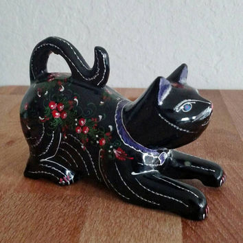 Vintage Russian   Black Cat   Hand painted   Palekh style   Lacquered   cat lover    cat figurine   lucky black cat statue   kitsch cat