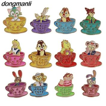 P1631 Dongmanli Cute metal Beauty and the Beast Alice in Wonderland Zootopia enamel Brooch Pins Fashion Jewelry