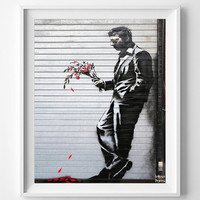 Banksy Print, Waiting in Vain, Street Graffiti Art, Urban Artist, Stencil Art, Street Art, Wall Decor, Modern Art, Fathers Day Gift