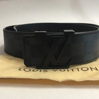 100% Authentic Louis Vuitton Belt Men Damier Graphite LV Black Grey 85/34 M9808