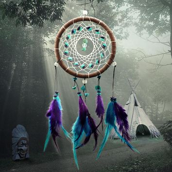 1x Antique Imitation Enchanted Forest Dreamcatcher Gift Handmade Purple Turquoise Feather Wall Hanging Decoration Ornament