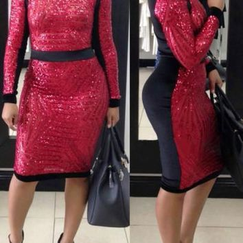Red Patchwork Geometric Sequin Sparkly Long Sleeve Bodycon NYE Party Midi Dress