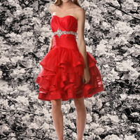 Cute A-line Sweetheart Knee-length Red Prom Dress With Beading Style 35516,Red prom dress