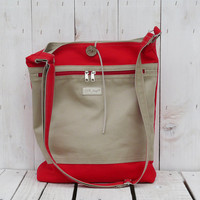 Tote canvas bag 2in1 beige red large totes crossbody messenger market shopping everyday modern tote bag