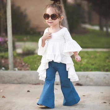 DK0127 2016 hot sale fashion baby girls Jeans flares trousers boot cut jeans for children girl children jeans children clothes