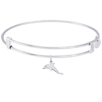 Sterling Silver Noble Bangle Bracelet Dolphin Charm
