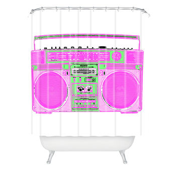 Romi Vega Ghetto Blaster White Shower Curtain