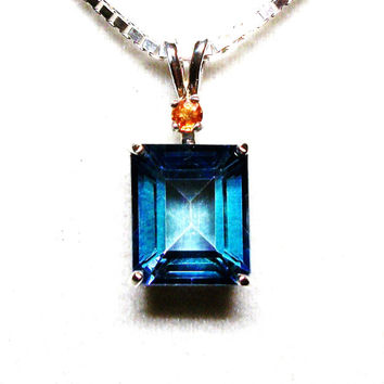 "London blue topaz, blue topaz pendant, accent pendant, statement pendant, blue orange, sterling silver,     ""Cool Dusk"""