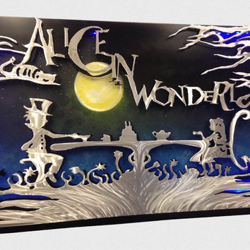 Alice in Wonderland 3D LED Metal Wall Art - Disney Art