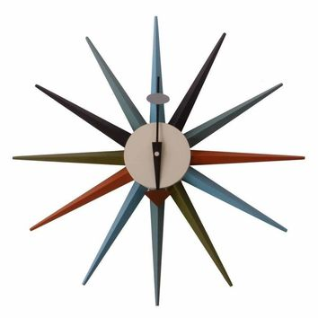 Inspired By George Nelson Sunburst Clock - Multicolor