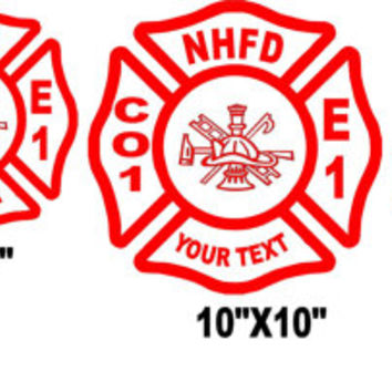 Fully customizable Fire Fighter Dept cross decal , station house to truck or recuse