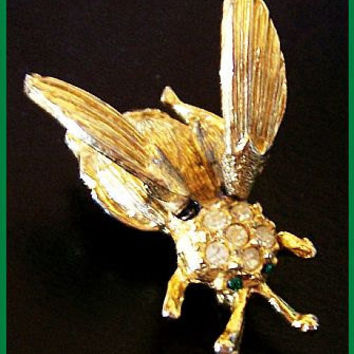 "Vintage Trembler Brooch Pin Fly Insect Bug Rhinestones Gold Metal Articulated 1 3/4"" VG"