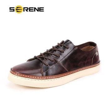 SERENE Brand Mens Shoes High Quality Leather Shoes Fashion Non-slip Wear Men Casual Moccasins Lace-up Men Ankle Loafers 6295