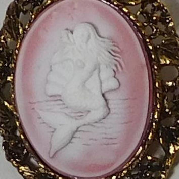 Mermaid Cameo Pendant, Mermaid Necklace, Choker Necklace, Mermaid Brooch, Brooch Pendant, Pink Cameo, Antiqued Gold Tone, Large Setting