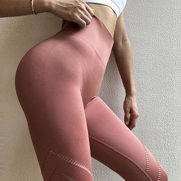 Oyoo Unique Design Sexy Pink Yoga Pants Seamless High Waist Athletic Sport Leggings Olive Workout Jogging Pants For Women