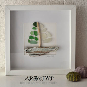 Sea Glass Driftwood Sailing Boat