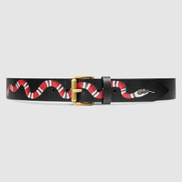 Gucci Leather belt with snake