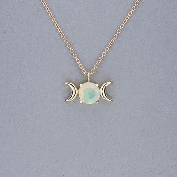 Triple Moon Goddess Necklace-Solid 14k Gold with Opal