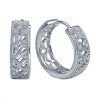 1/8ct tw Diamond Hoop Earrings in Sterling Silver - Fashion - Diamond Earrings - Jewelry & Gifts