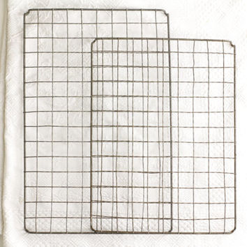 A Pair of Vintage French Wire Cooling Racks - Food Photography Prop - Crinkle Cake Tray