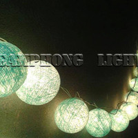 20 or 35 Cotton Ball String Lights  Sky color- Fancy Balls, Home Decoration, Hanging wall, Thailand handmade