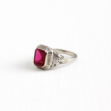 Vintage 14k White Gold Art Deco Created Ruby Flower Filigree Ring - Size 6 Antique 1920s Pink Red Stone July Birthstone Fine Floral Jewelry