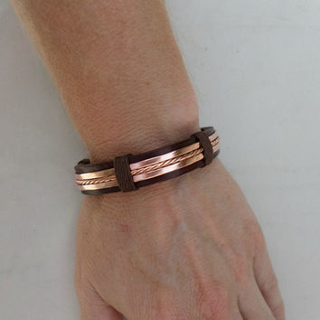 Men's Leather and Copper Bracelet, Men's Leather Bracelet, Men's Copper bracelet, Copper Bracelet, Leather Bracelet