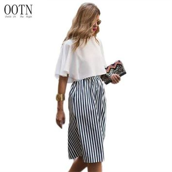 DK7G2 OOTN 3005 Long Skirts Women Loose Striped Skirt Street Style 2017 Fashion White and Black High Waist Cotton Office Long Skirt