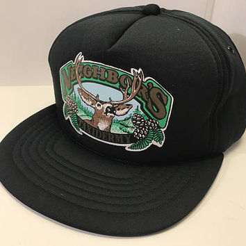 Vintage Black Taxidermy Logo Snap Back / Blue Green Deer Hunting Antlers Graphic Trucker Hat / Blue Collar Small Business Logo Baseball Cap