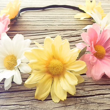 Daisy flower crown flower head wrap Hippie Boho headband with White daisy flower Yellow Daisy flower crown Coachella boho floral headband