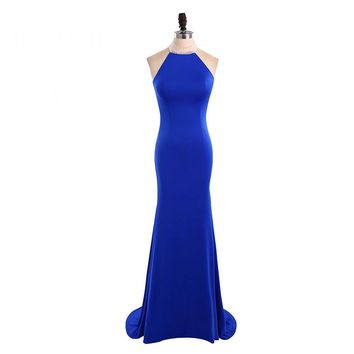 Sexy Beading Halter Mermaid Long Evening Dress Chiffon Sleeveless Open Back Floor Length