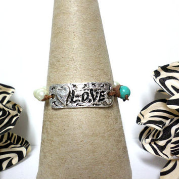 Silver hammered LOVE ivory pearl turquoise bead brown suede leather knot wrap bracelet pearl leather bracelet - love pearl bracelet, gift