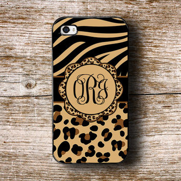 Zebra Iphone 4 case Cheetah iPhone 5 case animal iPhone 5c case monogrammed - Cute zebra, cheetah prints - fits iPhone 4 4s 5 5s 5c (1282)