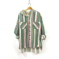 Vintage green striped Flannel hoodie / Grunge Shirt jacket / cotton button up shirt coat XL