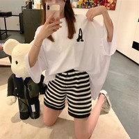 """""""Moschino"""" Women Casual Fashion Letter Print Short Sleeve T-shirt Multicolor Stripe Shorts Set Two-Piece"""