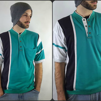 Mens Vintage 80's Teal Black & Grey Shirt Size Medium Greenline International Short Sleeve Striped Polo with Snap Buttons Retro 80's