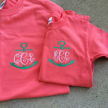 Monogrammed Anchor Adult/Youth Set.  You can choose shirt colors, thread colors, and font