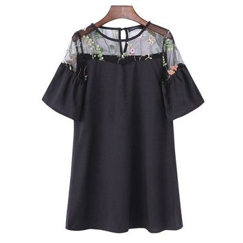 Embroidered Floral Mesh Mini Maternity Dress - 2 Colors