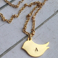 Bird Necklace Gold. Personalized Bird Necklace Gold. Bird Jewelry. Simple Initial Necklace