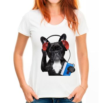 TEEHEART 2017 New Fashion Women's Lovely French Bulldog Print t-shirt Hipster Brand Graphics Art Tees pc096