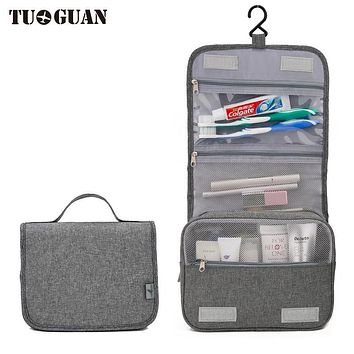 TUGUAN Waterproof Travel Men Cosmetic Cases Hanging Toiletry Women Make up Bag Portable Makeup Organizer Wash Pouch Bags Gray