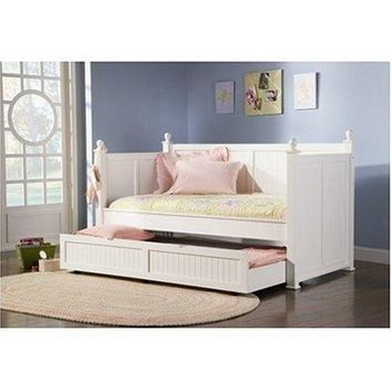 Twin size White Wood Daybed with Pull-Out Trundle Bed