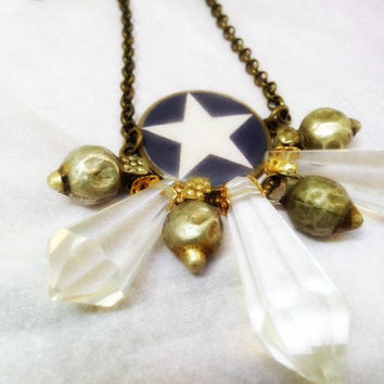Resin Bezel Symbol Necklace. Boho Chic Star necklace. Old tribal ethnic findings and vintage crystal. Star