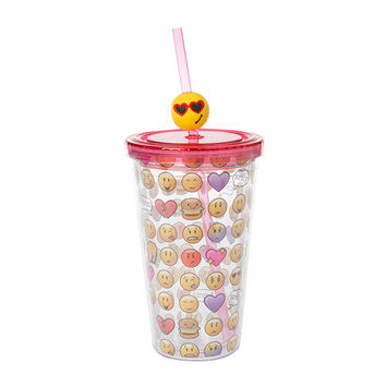 Emoji Tumbler with Straw