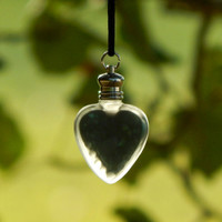Perfume Bottle Necklace - Heart Perfume Pendant - Enchanted Forest