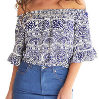 Floral Print Off The Shoulder Crop Top