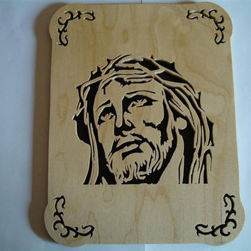 Jesus Crown of Thorns Wall Plaque Portrait by KevsKrafts on Etsy