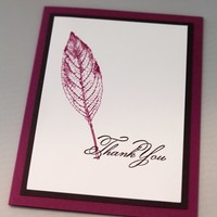 Hand Stamped Thank You Card Featuring Rose Red Leaf